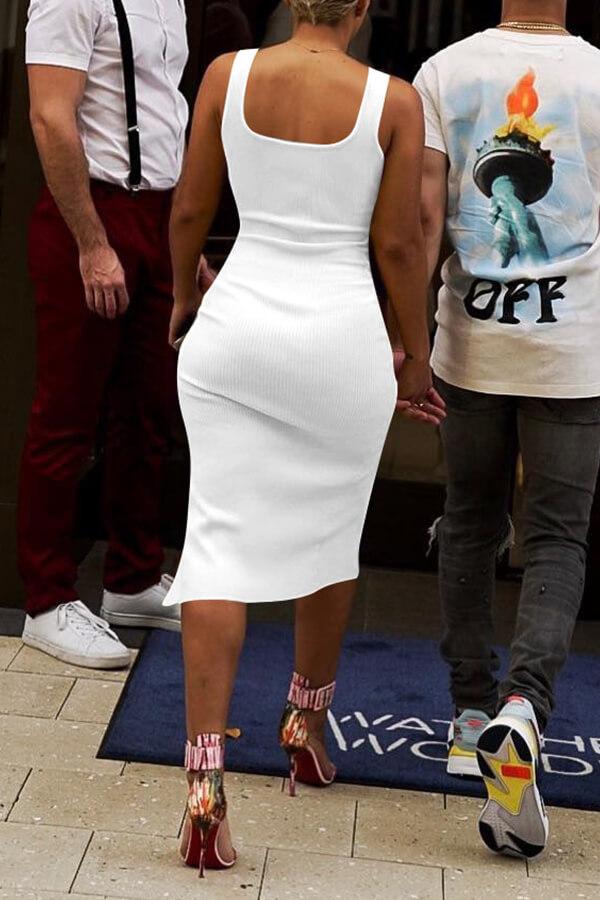 Lovely Casual Side Split White Knee Length Dress(With Elastic)