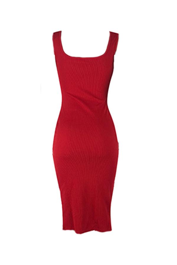 Lovely Work U Neck Side Split Red Knee Length Dress(With Elastic)