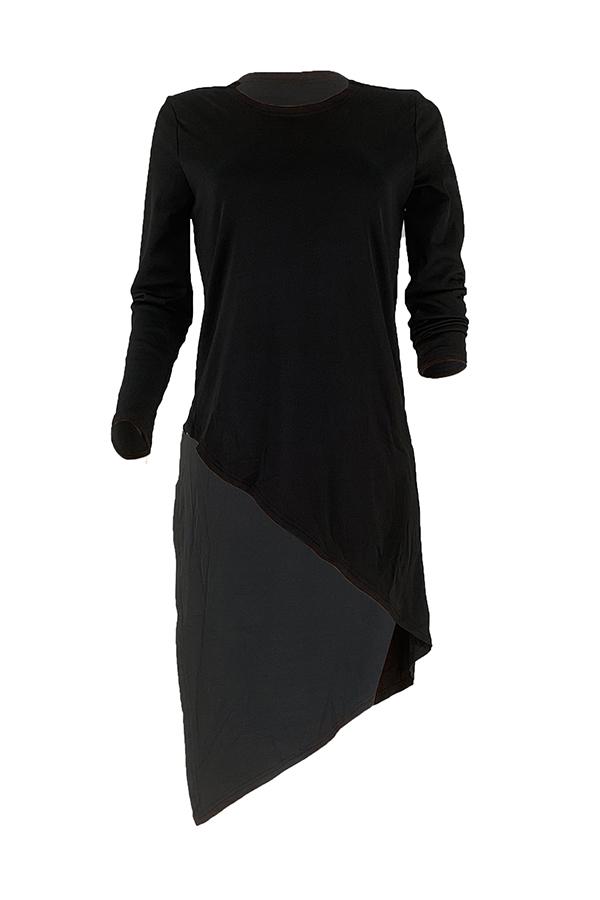 Lovely Casual Asymmetrical Black T-shirt