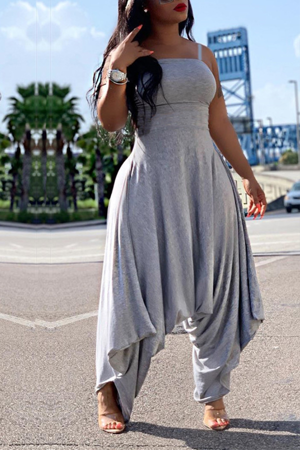 Lovely Trendy Loose Grey One-piece Jumpsuit