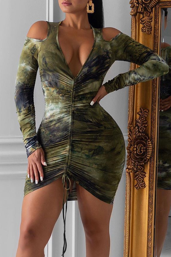 Lovely Sexy Cold Shoulder Blackish Green Mini Dress