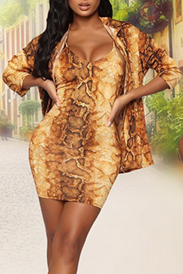 Lovely Sexy Snakeskin Printed Two-piece Skirt Set