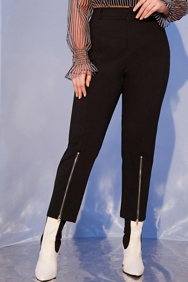 Lovely Casual Zipper Design Black Plus Size Leggings