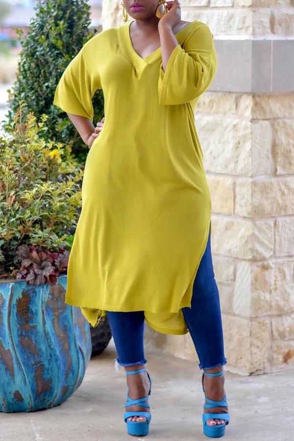 Lovely Casual V Neck Side Slit Design Yellow Blouse