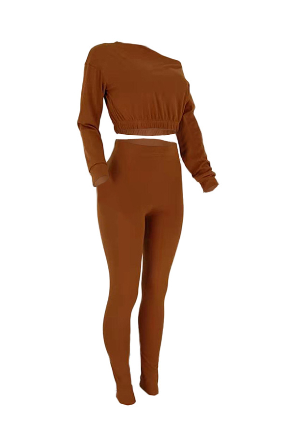 Lovely Chic Off The Shoulder Basic Brown Two-piece Pants Set