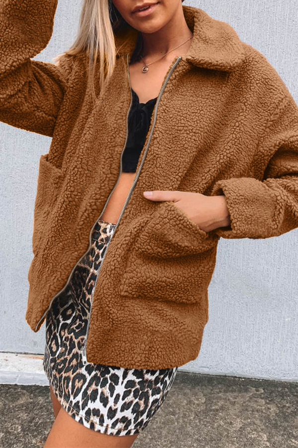 Lovely Casual Pockets Design Brown Coat