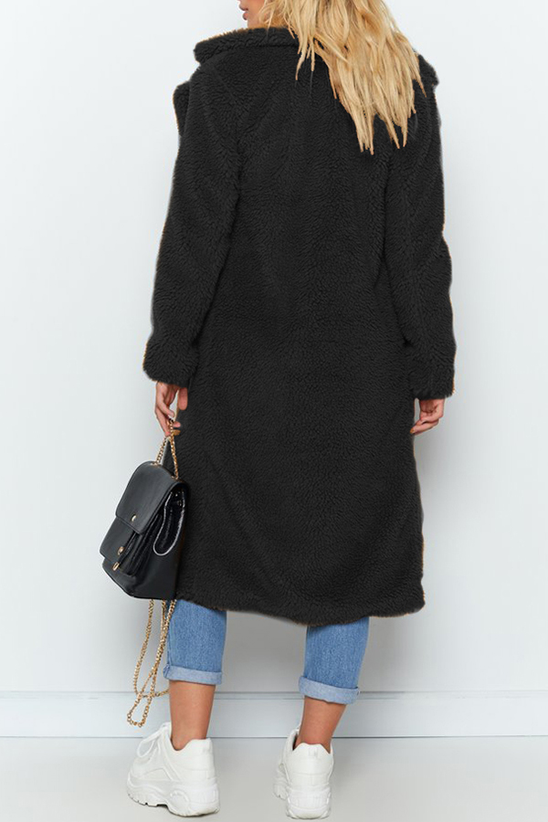 Lovely Casual Winter Long Black Coat