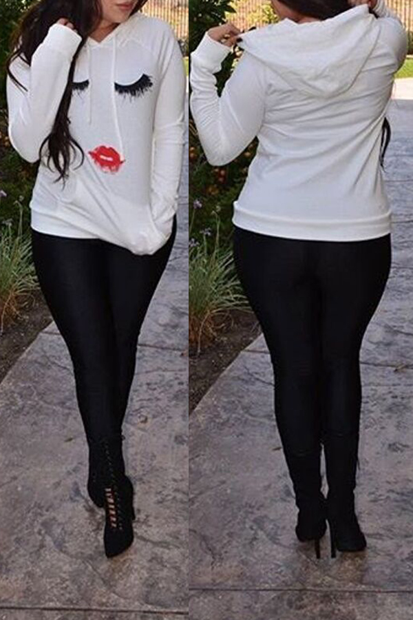 Lovely Casual Hooded Colla Printed White Hoodie