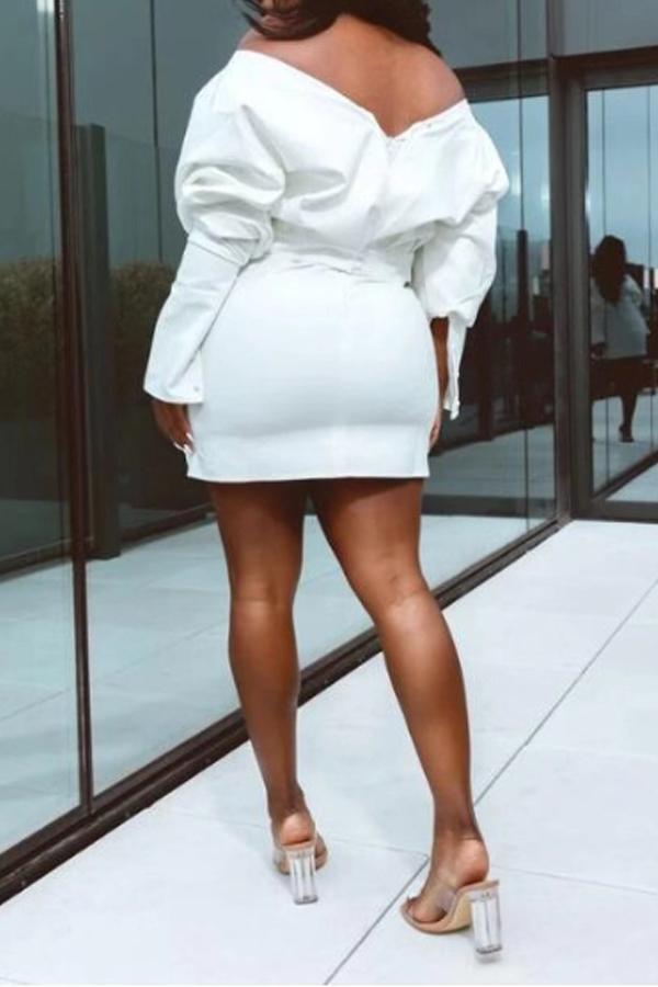 Lovely Chic Dew Shoulder White Mini Dress