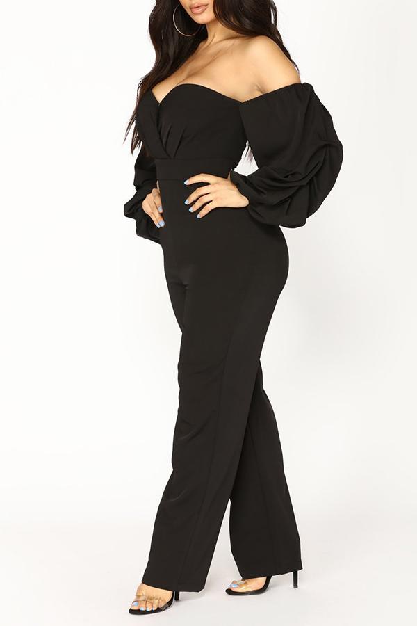 Lovely Chic Dew Shoulder Black One-piece Jumpsuit