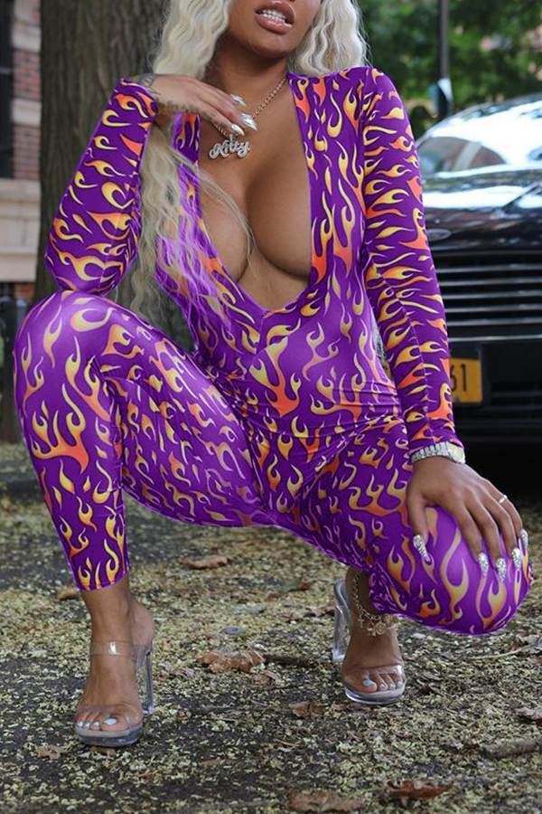 Lovely Chic Deep V Neck Printed Purple One-piece Jumpsuit