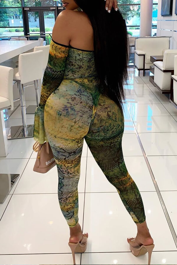 Lovely Chic Dew Shoulder Printed Multicolor One-piece Jumpsuit