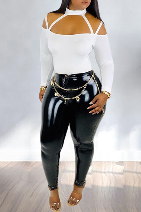 Lovely Chic Hollow-out Black Two-piece Pants Set