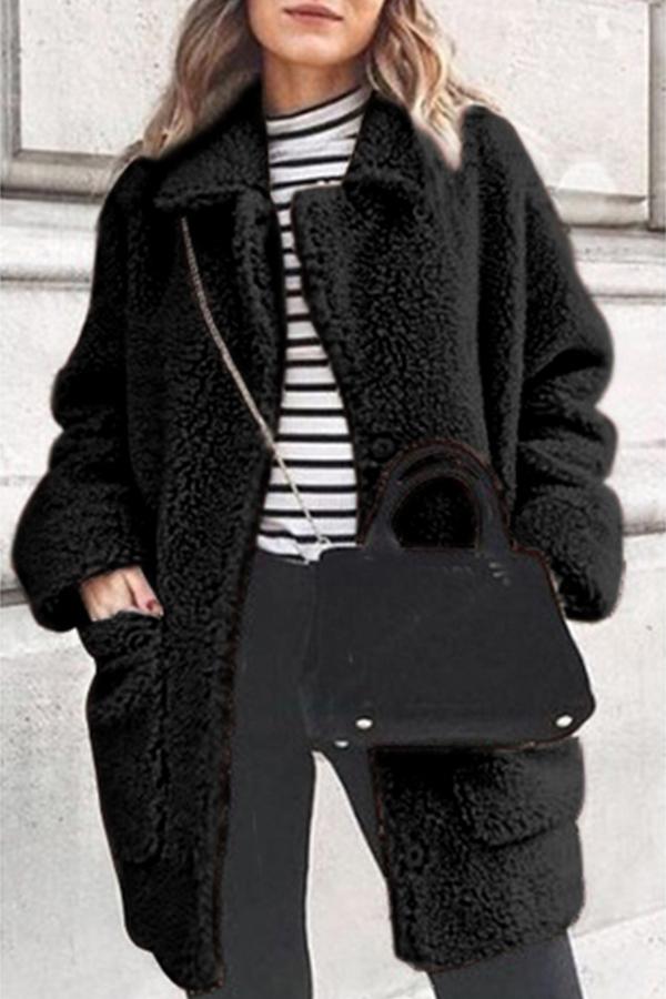 Lovely Trendy Pockets Design Black Coat