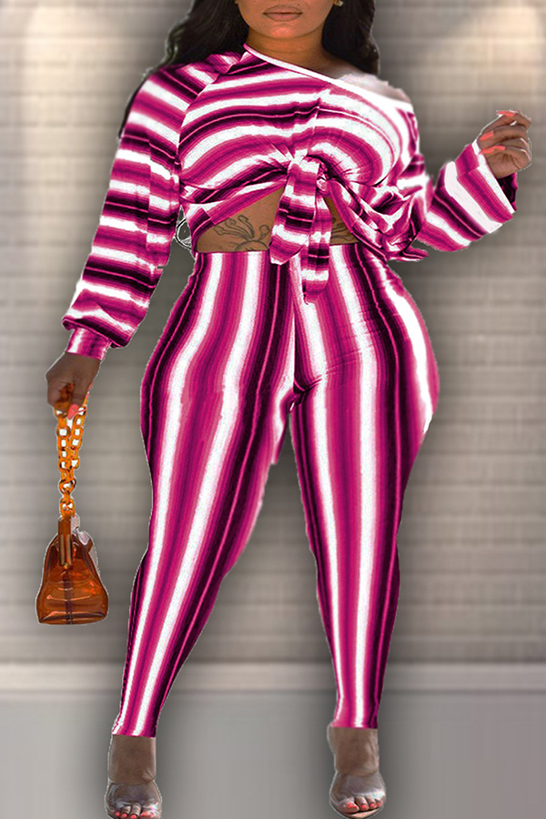 Lovely Casual Striped Multicolor Two-piece Pants Set