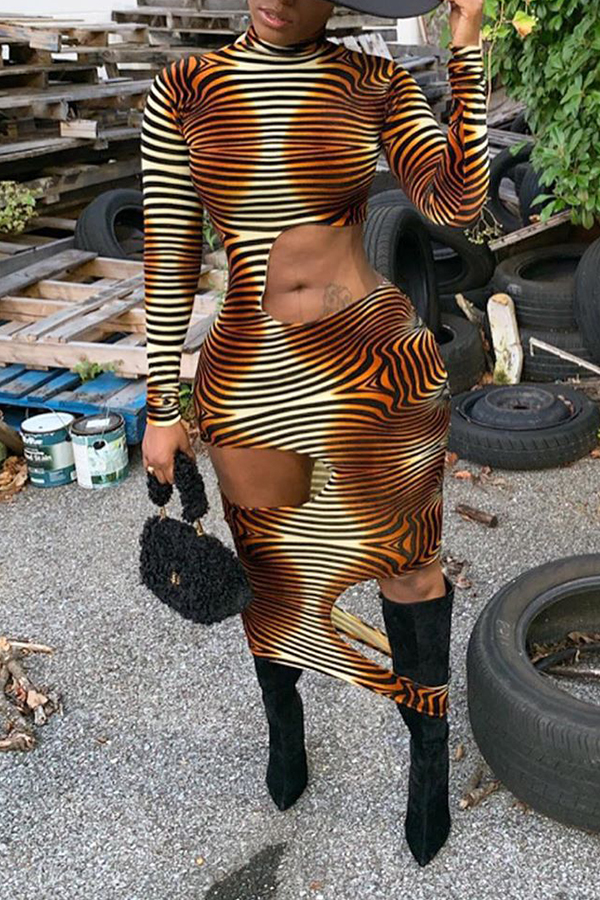 Lovely Sexy Striped Hollow-out Brown Ankle Length Dress