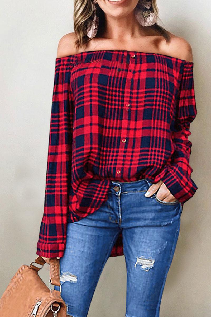 Lovely Euramerican Bateau Neck Grid Printed Red Blending Shirts