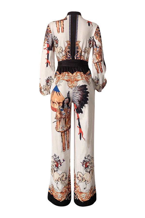 Lovely Casual Printed White One-piece Jumpsuit