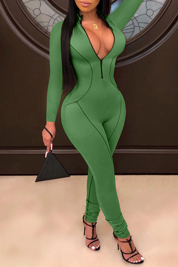 Lovely Casual Zipper Design Green One-piece Jumpsuit