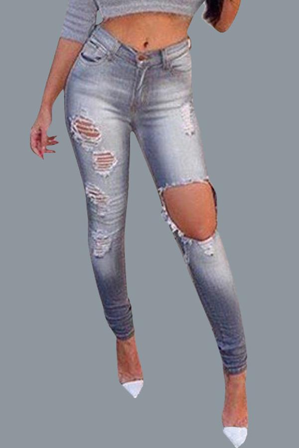 Lovely Leisure Broken Holes Grey Jeans