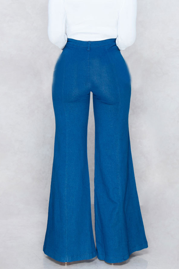 Lovely Leisure Flared Loose Blue Jeans