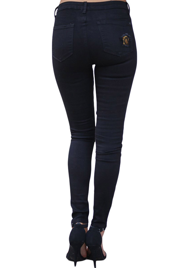 Lovely Leisure Patchwork Black Jeans