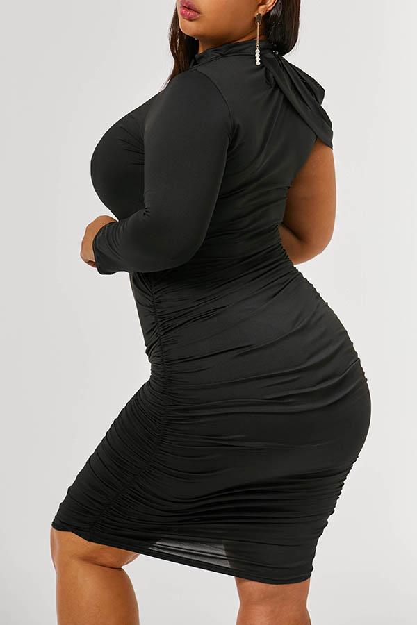 Lovely Trendy Ruffle Design Black Knee Length Plus Size Dress