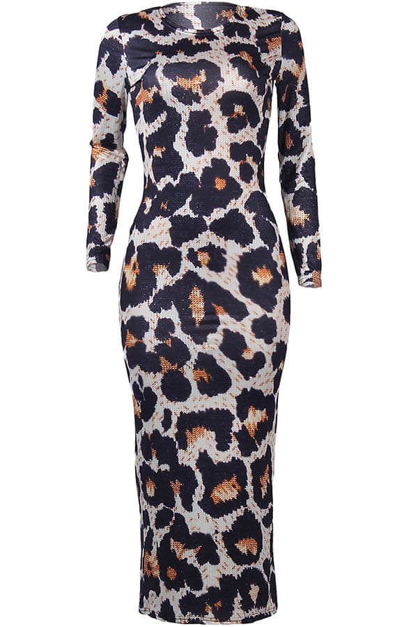 Lovely Casual Leopard Printed Ankle Length Dress
