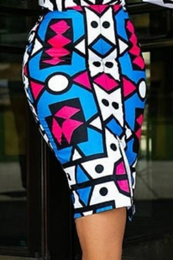 Lovely Work Printed Blue Knee Length Skirt