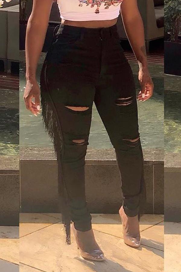 Lovely Casual Tassel Design Black Jeans