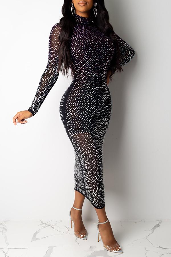 Lovely Sexy Half A Turtleneck Hot Drilling Decorative Black Mid Calf Dress