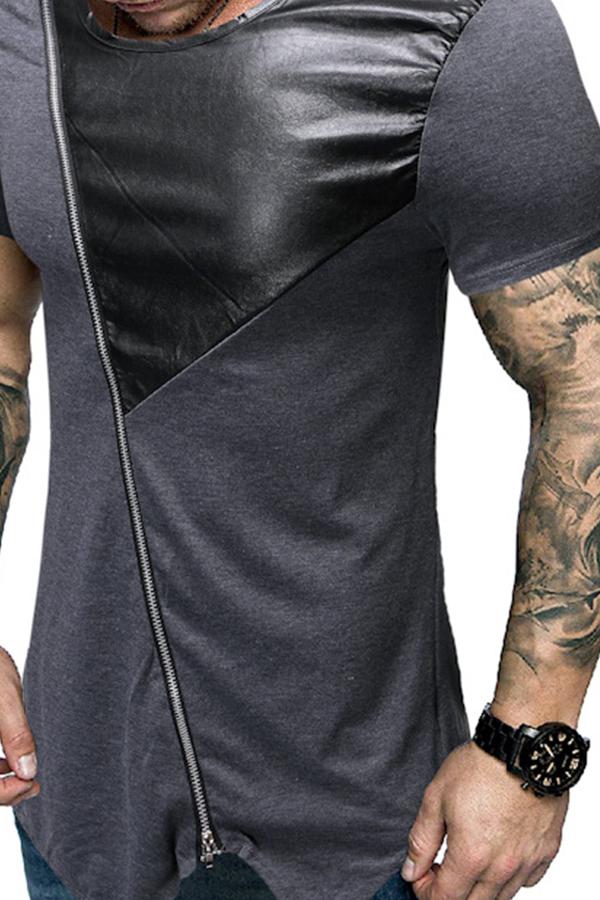 Lovely Casual Patchwork Zipper Design Grey T-shirt