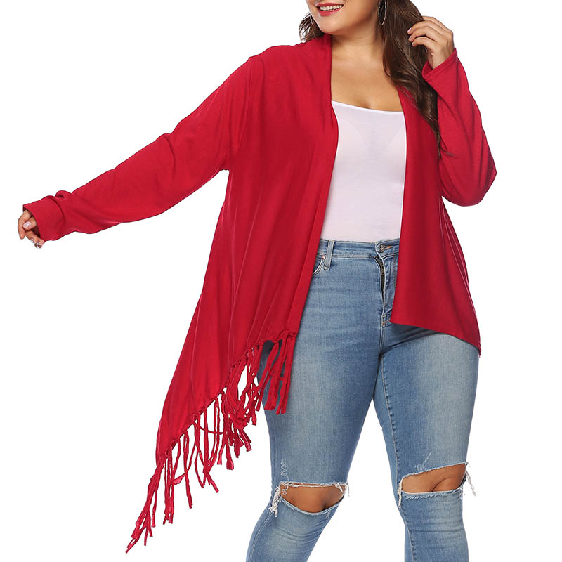 Lovely Casual Tassel Design Red Plus Size Coat