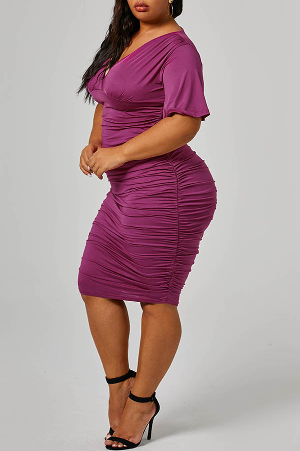 Lovely Trendy One Shoulder Wine Red Knee Length Plus Size Dress