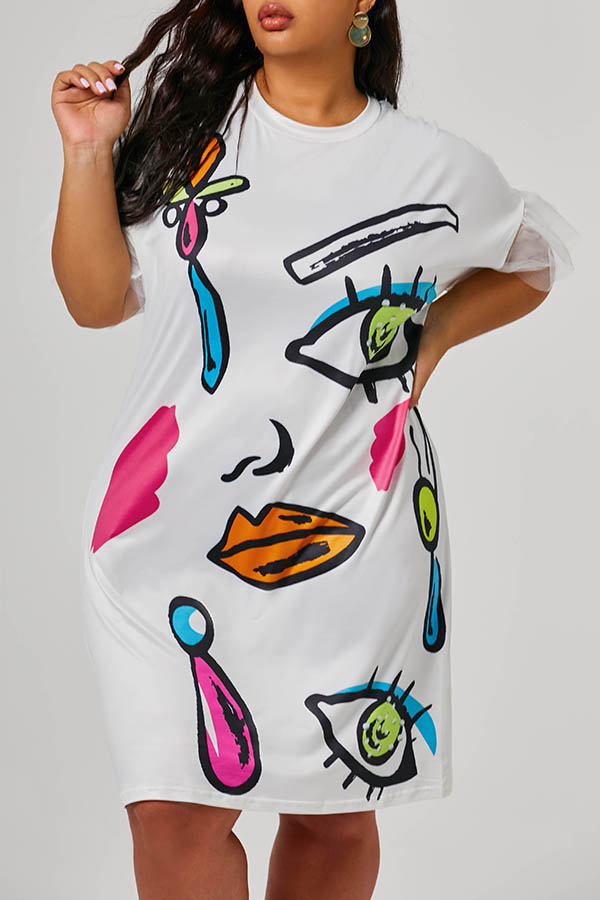 Lovely Casual Printed White Knee Length Plus Size Dress