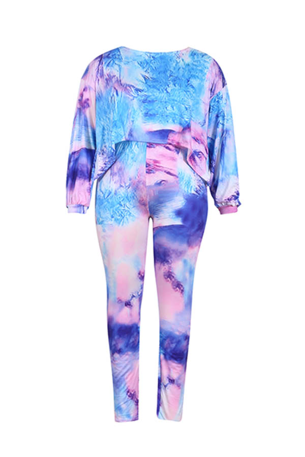 Lovely Casual Printed Blue Plus Size Two-piece Pants Set