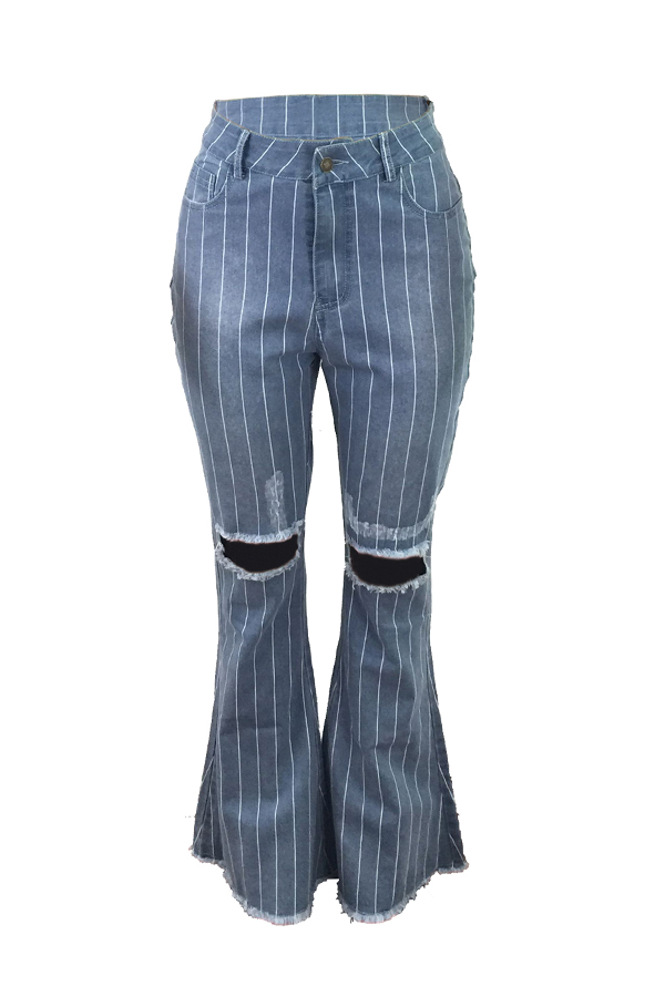 Lovely Street Striped Baby Blue Jeans