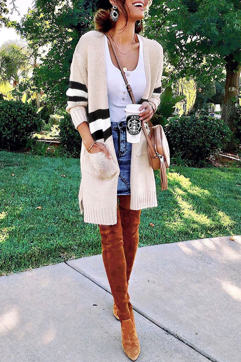 Lovely Striped Creamy White Cardigan