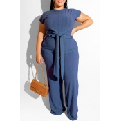Lovely Casual Knot Design Deep Blue Plus Size Two-