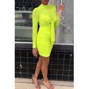 Lovely Casual Knot Design Yellow Mini Dress