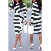 Lovely Work Striped Patchwork Black Knee Length Dr