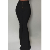 Lovely Chic Buttons Design Black Pants