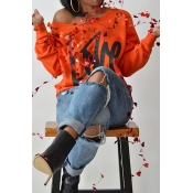 Lovely Leisure Round Neck Long Sleeves Letters Printing Orange Sweatshirt Hoodie