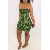 Lovely Casual Printed Patchwork Green Mini Dress(With Elastic)