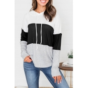 Lovely Trendy Hooded Collar Drawstring Black Sweat