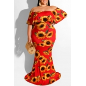 Lovely Casual Off The Shoulder Red Floor Length Pl