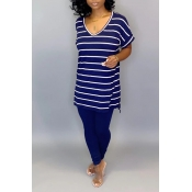 Lovely Casual Striped Dark Blue Two-piece Pants Se