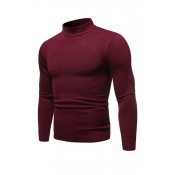 Lovely Casual Half A Turleneck Wine Red Sweaters
