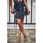 Lovely Casual Broken Holes Black Mini Skirt