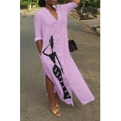 Lovely Casual Printed Slit Purple Ankle Length Dress